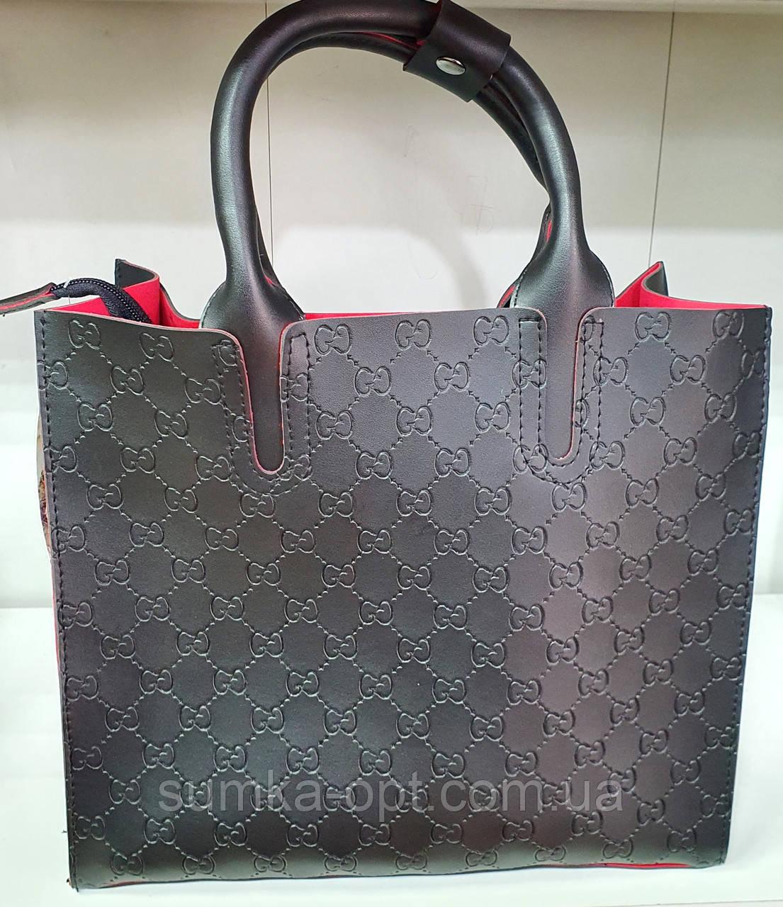 Брендова жіночий сумка Louis Vitton 32*28 см, чорна з червоним