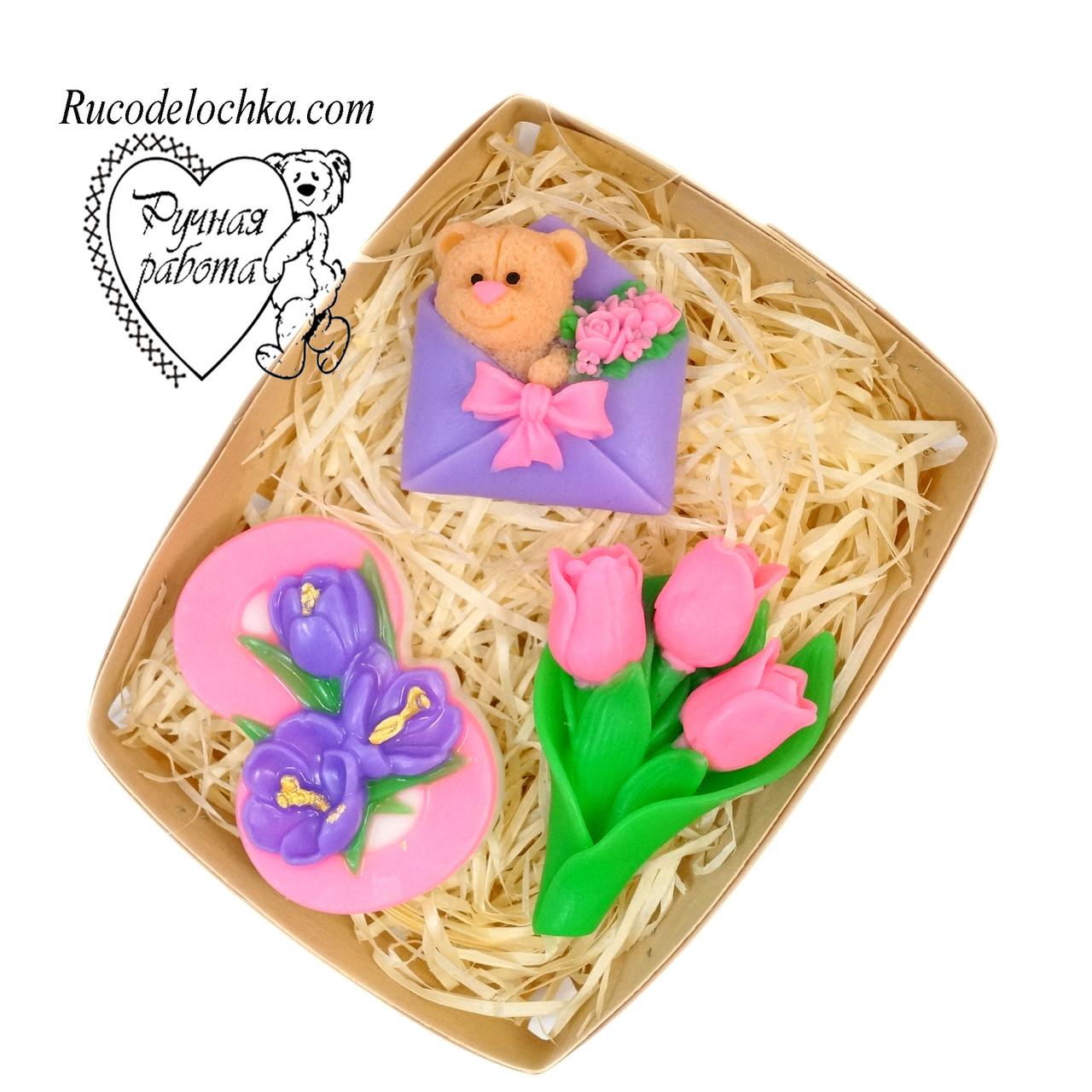 Мыло набор 8 марта, роза, восьмерка, букет тюльпанов, подарок маме, подруге, жене, женщине, ручная работа