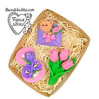 Мило набір 8 березня, троянда, вісімка, букет тюльпанів, подарунок мамі, подрузі, дружині, жінці, ручна робота