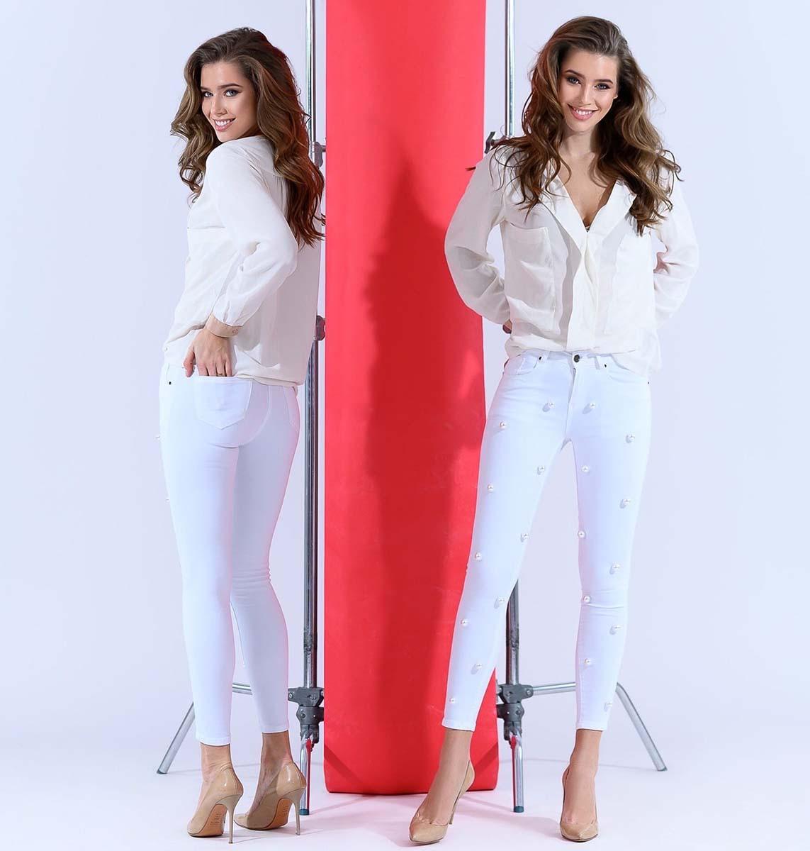 """Жіночі стильні джинсові штани 5191 """"Перли"""""""