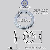 Шайба пружинна гровер Ø 16*27,4 мм DIN 127 оцинкована