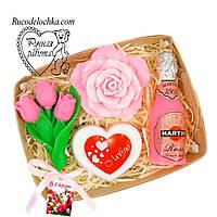 Мило набір 8 березня, троянда, мартіні, серце, букет тюльпанів, подарунок мамі, подрузі, жінці, ручна робота