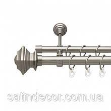 Карниз для штор металевий БОРДЖЕЗА подвійний 25+19 мм 2.4м Колір Сталь