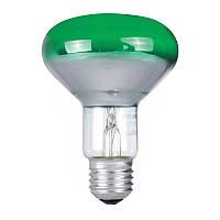 Лампа рефлекторная PHILIPS 60W R80 E27 зелёная (Польша)