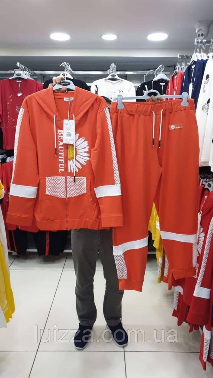 Женский спортивный трикотажный костюм Турция  50-60 р, оранжевый