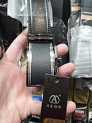 Ремень мужской кожаный пряжка автомат Alon ширина 3,5 см черный под джинсы брюки Р-1094