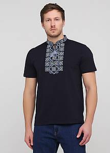 Праздничная мужская футболка с вышивкой «Оберег с синим»