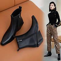 Кожаные женские ботинки на наклонном каблуке с острым носком, ботильоны из воловьей кожи, козаки