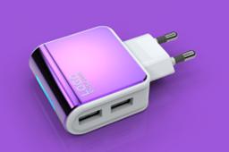 ES-D09 Адаптер на 2 USB 220V  (цвета в ассортименте), фото 2