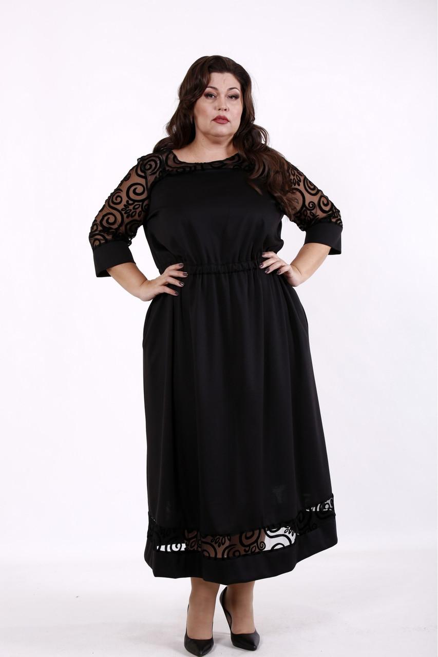Черное платье большого размера приталенное с карманами