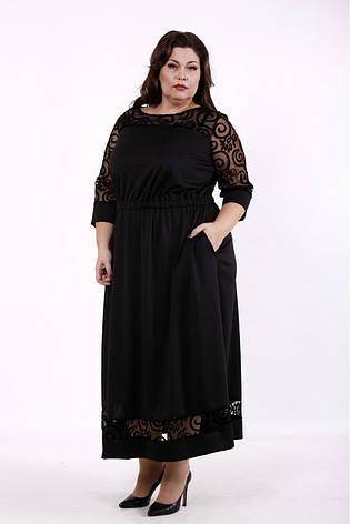 Черное платье большого размера приталенное с карманами, фото 2