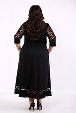 Черное платье большого размера приталенное с карманами, фото 3