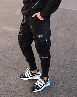 Зауженные черные мужские штаны брендовые на манжете Весна/осень с рефлективом