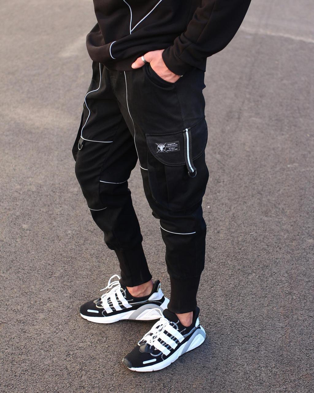 Зауженные черные мужские штаны брендовые на манжете Весна/осень с рефлективом L