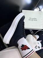 Кроссовки женские демисезонные Alexander McQueen черные весенние осенние   Кеды женские Маквин ЛЮКС качества, фото 1
