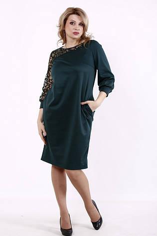 Платье батальное трикотажное зеленое с декором из сетки, фото 2