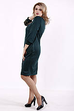 Платье батальное трикотажное зеленое с декором из сетки, фото 3