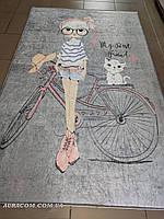 Серый коврик, с девочкой на велосипеде, Chilai Home, 100-160 см, Турция