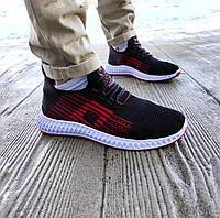 Летние кроссовки черные с красным мужские текстильные сетка в стиле adidas yeezy boost
