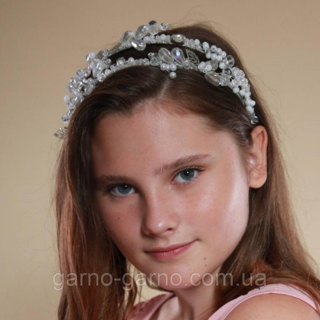 Білий подвійний обідок обруч для волосся з кришталевими намистинами Гілочка прикраса для нареченої весільну на голову