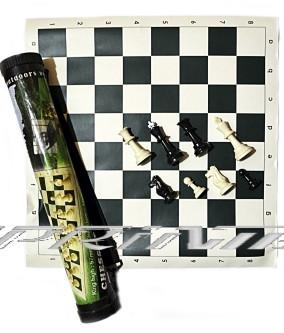 Шахматы в тубе,большие, доска - винил 51*51 см , фигуры пластик.
