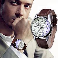Мужские наручные часы Yazole blue ray белые (кварцевые) белый циферблат с стеклом голубой луч
