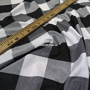 Рубашечная ткань клетка черно-белая 6х6см