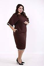 Елегантне плаття великих розмірів коричневе, фото 3