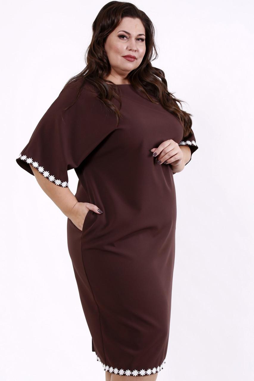 Елегантне плаття великих розмірів коричневе