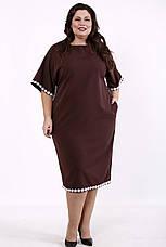 Елегантне плаття великих розмірів коричневе, фото 2