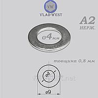 Шайба плоска 4*9 мм DIN 125 нержавіюча сталь А2