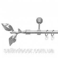 Карниз для штор металлический ЛИСТ РОЗЫ однорядный 16мм 1.6м Хром.