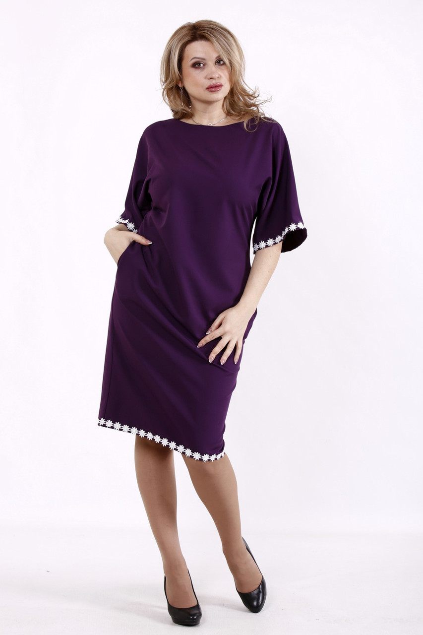 Елегантне та витончене плаття батал фіолетове з мереживом