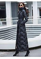Чорний супер довгий пуховик жіночий до щиколотки, стрункий стиль