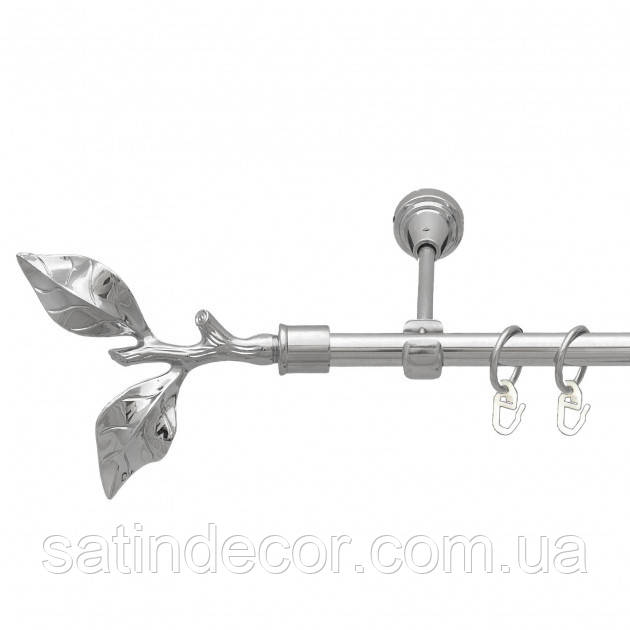 Карниз для штор металлический ЛИСТ РОЗЫ однорядный 16мм 3.0м Хром