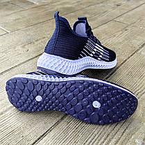 РАЗМЕРЫ: 40, 45 Летние кроссовки синие мужские текстильные сетка в стиле adidas yeezy boost, фото 3