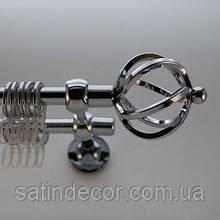 Карниз для штор металевий АЖУР подвійний 16+16 мм 2.0 м Хром
