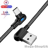 Кабель угловой 90 градусов для быстрой зарядки телефона смартфона USB - Type-C зарядный провод шнур 2 м AT76B