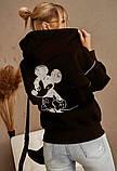 Женская теплая толстовка на молнии трехнить с начесом сзади принт размер: универсал 48-52, фото 4