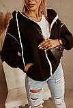 Женская теплая толстовка на молнии трехнить с начесом сзади принт размер: универсал 48-52, фото 5
