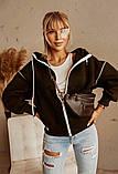 Женская теплая толстовка на молнии трехнить с начесом сзади принт размер: универсал 48-52, фото 2