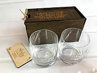 """Набор из 2 стаканов для виски с гравировкой"""" 290 мл в деревянной коробке Дуб, фото 2"""