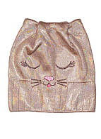 Шапка бини для девочки на весну кошка