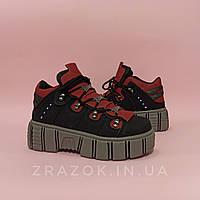 Серые черные высокие ботинки кроссовки криперы на толстой подошве нью рок new rock женские красные бордовые