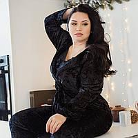 Черный домашний костюм из мраморного велюра на ночь, размер 52-54