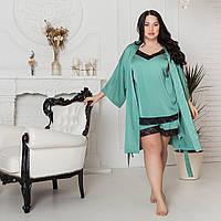 Мятный шелковый халат на ночь, размер 52-54