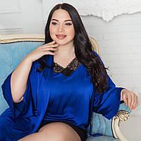 Синий шелковый халат на ночь, размер 52-54