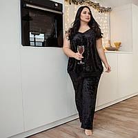Черный велюровый комплект из майки и брюк на ночь, размер 52-54