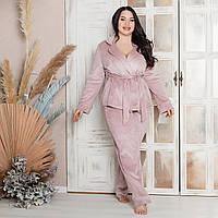 Домашний костюм из плюша сиреневого цвета на ночь, размер 52-54