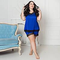 Синяя пижама из шелка Армани на ночь, размер 48-50